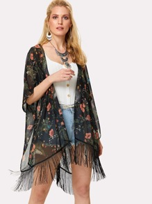 Fringe Trim Calico Print Kimono