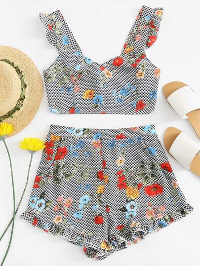 Crop Top mit Muster, Raffung und Shorts Set