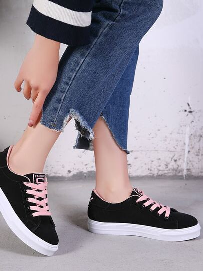 Romwe / Lace Up Letter Embroidery Sneakers