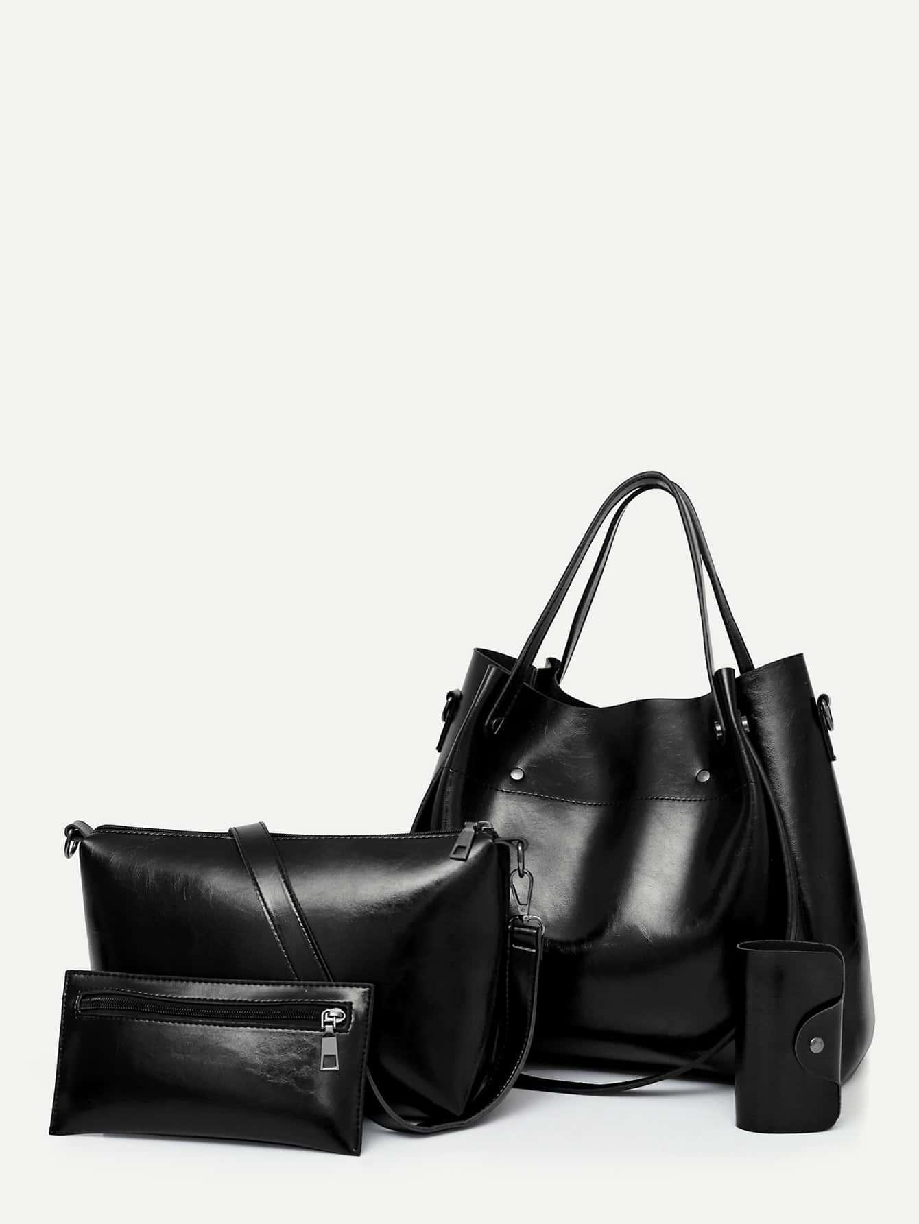 PU Tote Bag Set 4Pcs
