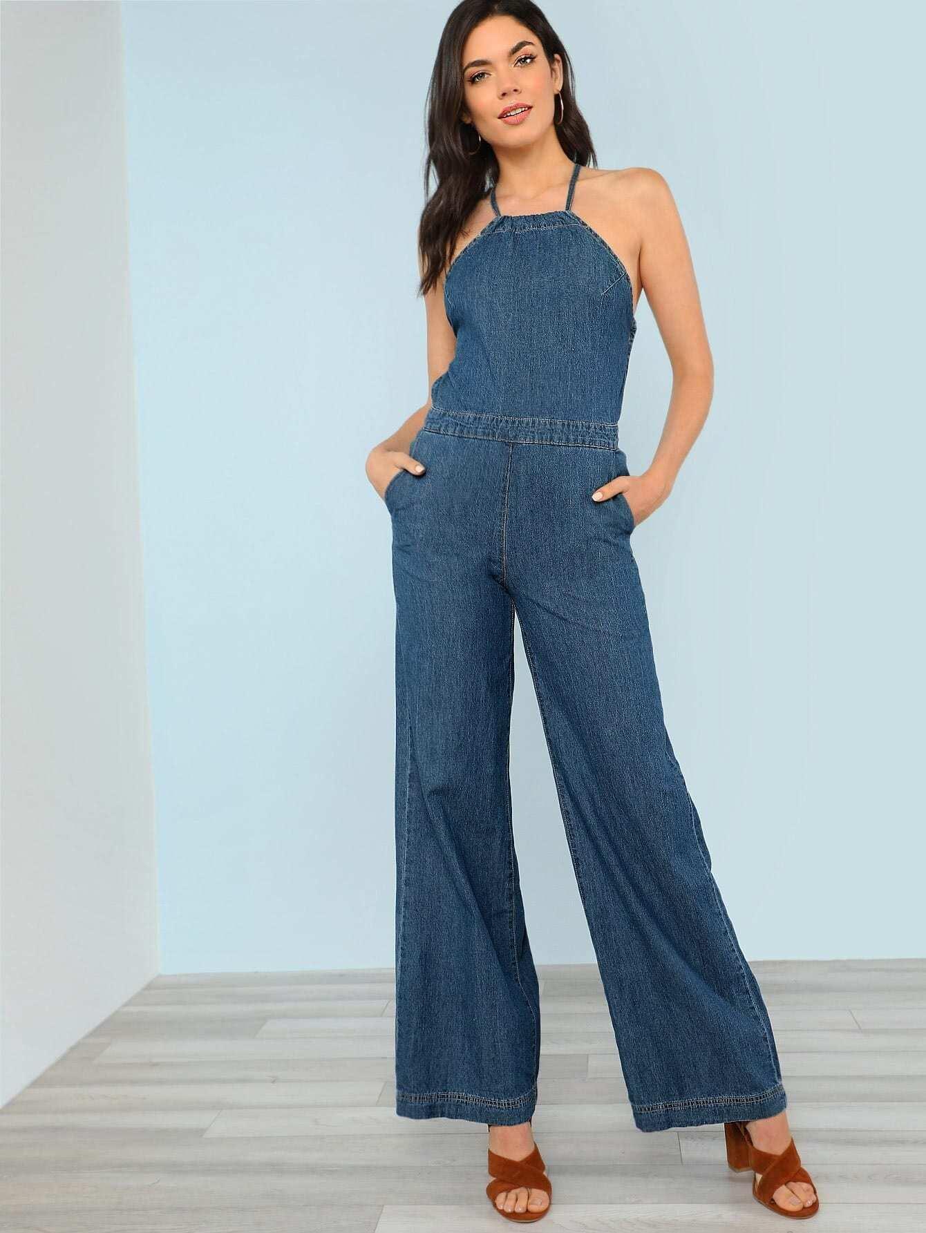 Denim Halter Neck Wide Leg Jumpsuit print halter wide leg jumpsuit