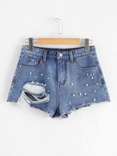 Pearl Beaded Ripped Raw Hem Denim Shorts