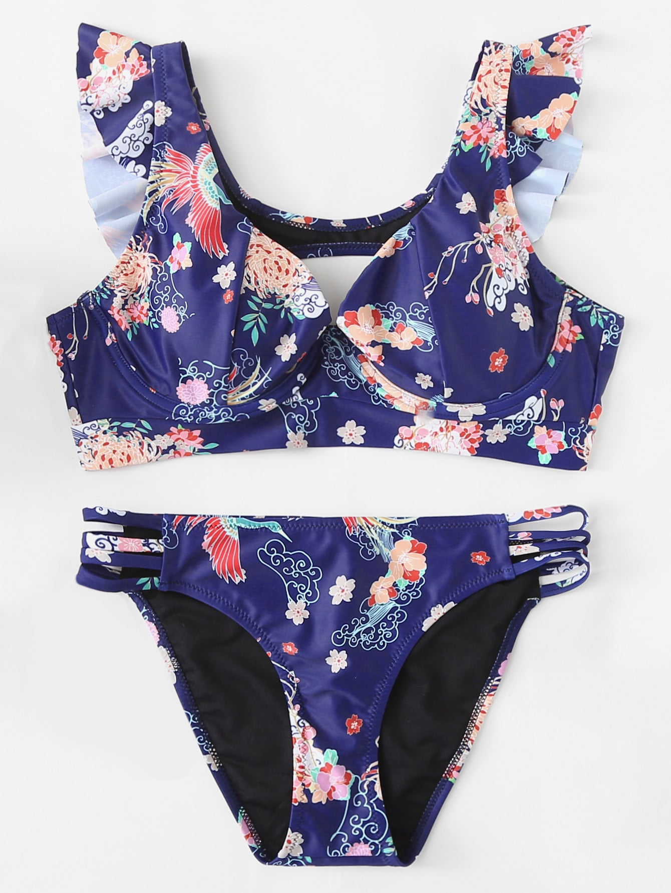 Купить Цветочная печать Ruffle Trim Knot Back Bikini Set, null, SheIn