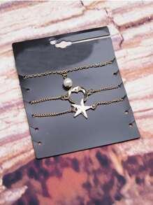 Star & Moon Chain Bracelet 3pcs