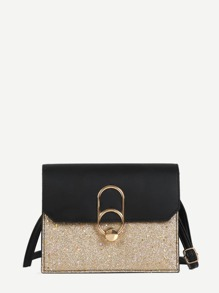 Glitter Metal Design Flap Shoulder Bag