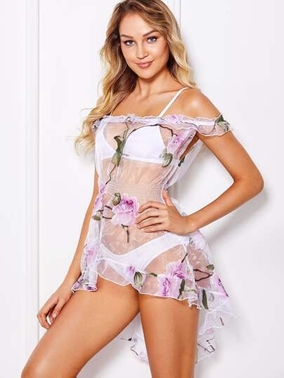 Floral Mesh Ruffle Dress With Thong