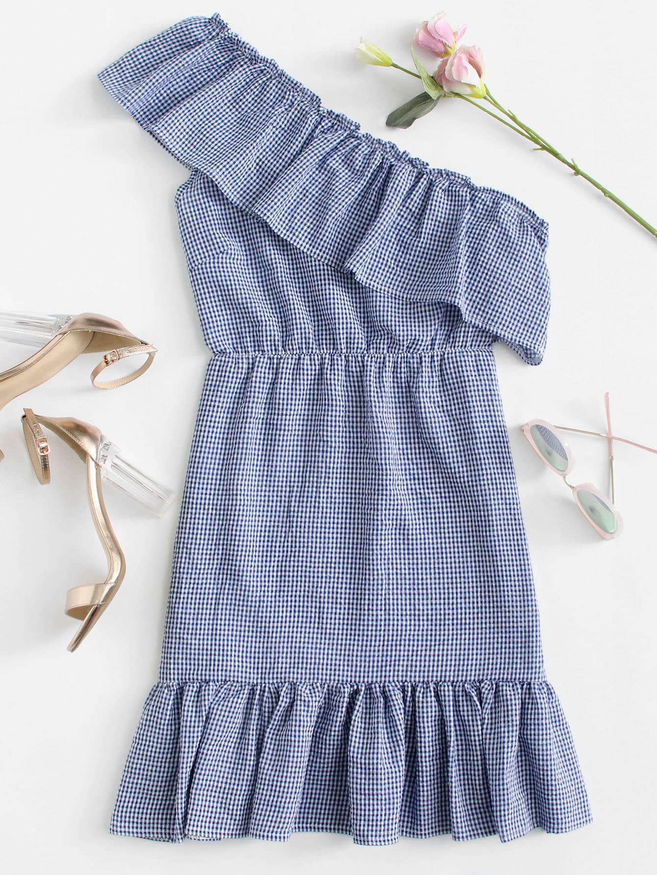 Plaid Kleid mit asymmetrischem Ausschnitt