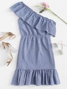 Asymmetrical Neck Checked Dress