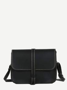 Contrast Stitch Trim Shoulder Bag