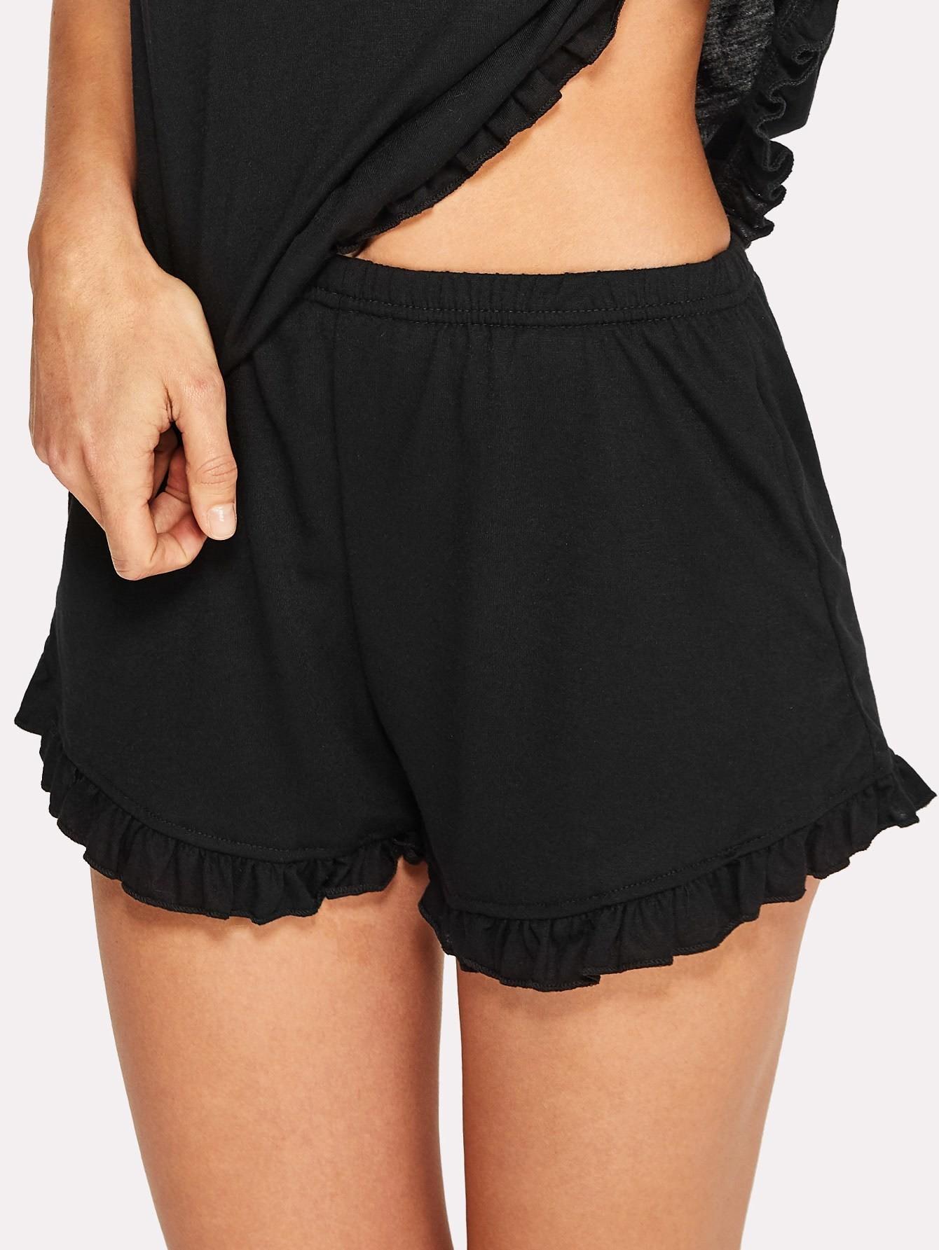Ruffle Hem Pajama Shorts ruffle hem solid shorts