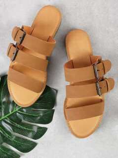 Three Band Buckled Slide Sandal TAN