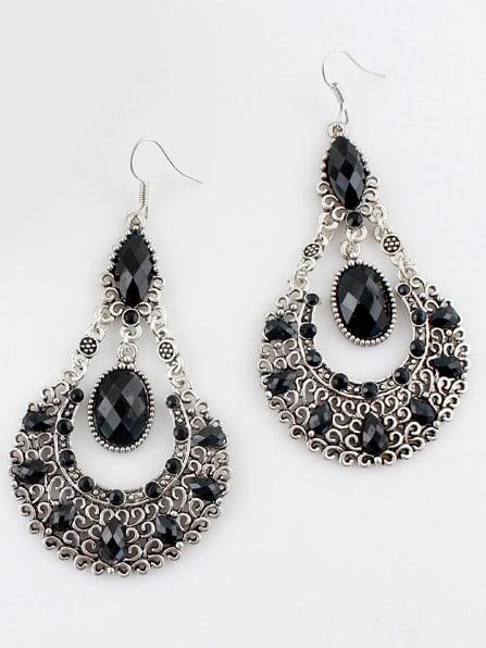 Купить Black Gemstone Retro Silver Hollow Dangle Earrings