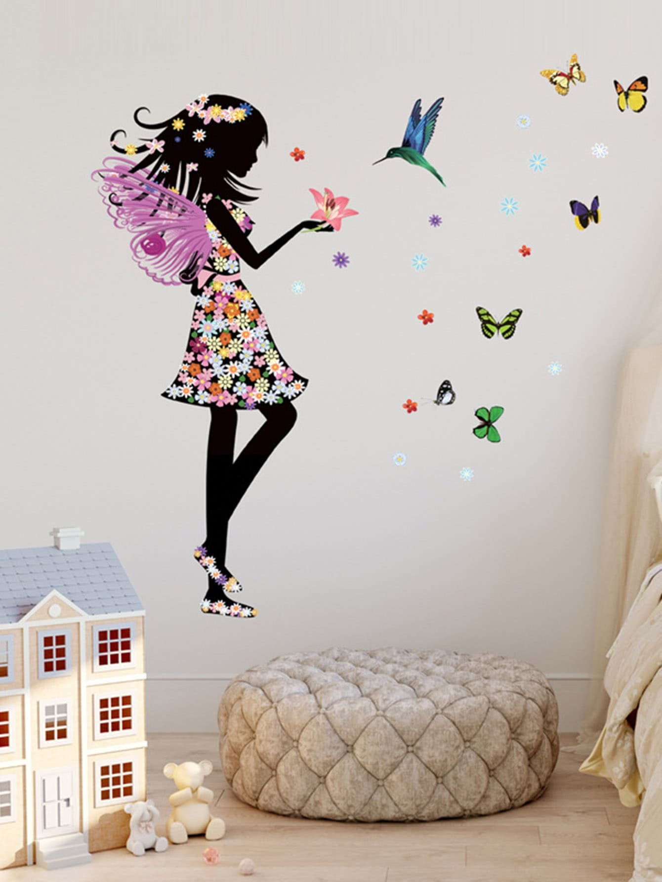 Fairy & Butterfly Wall Sticker fluorescence creative fairy stars luminous switch wall sticker
