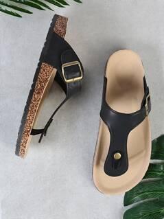 Cork Footbed Slide Sandal with Buckled T-Strap Thong BLACK