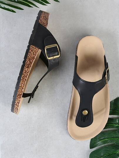 Cork Footbed Slide Sandal with Buckled T-Strap Thong BLACK