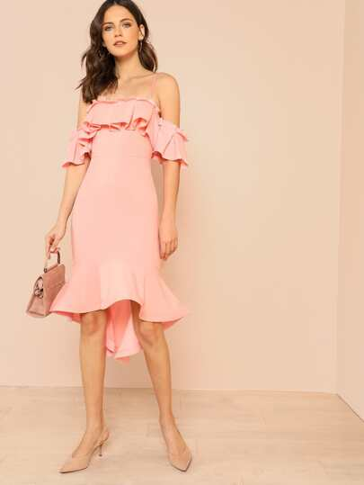 Pleated Ruffle Trim Cold Shoulder Mermaid Hem Dress PINK