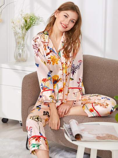 Contrast Binding Floral Print Shirt & Pants PJ Set