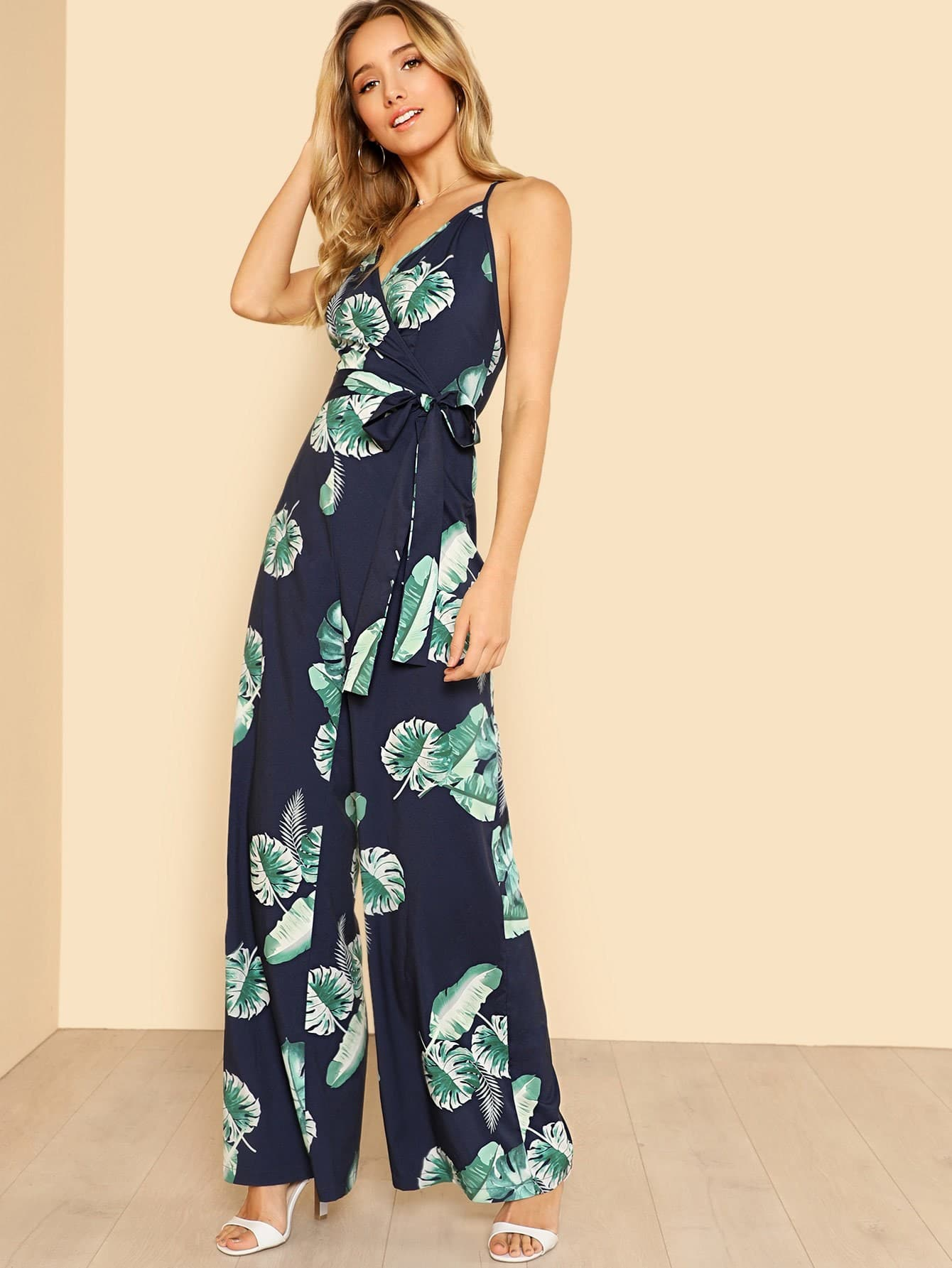 Tropical Print Wide Leg Cami Jumpsuit tropical print flounce off shoulder wide leg jumpsuit