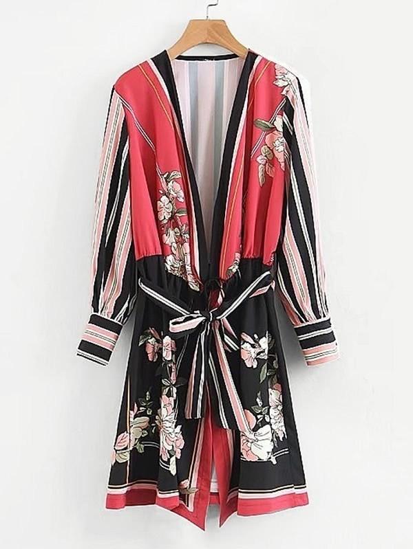 Self Tie Florals Kimono