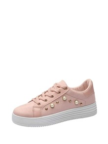 Faux Pearl Decor Flatform Sneakers