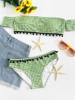 Pompom Embellished Plaid Bikini Set