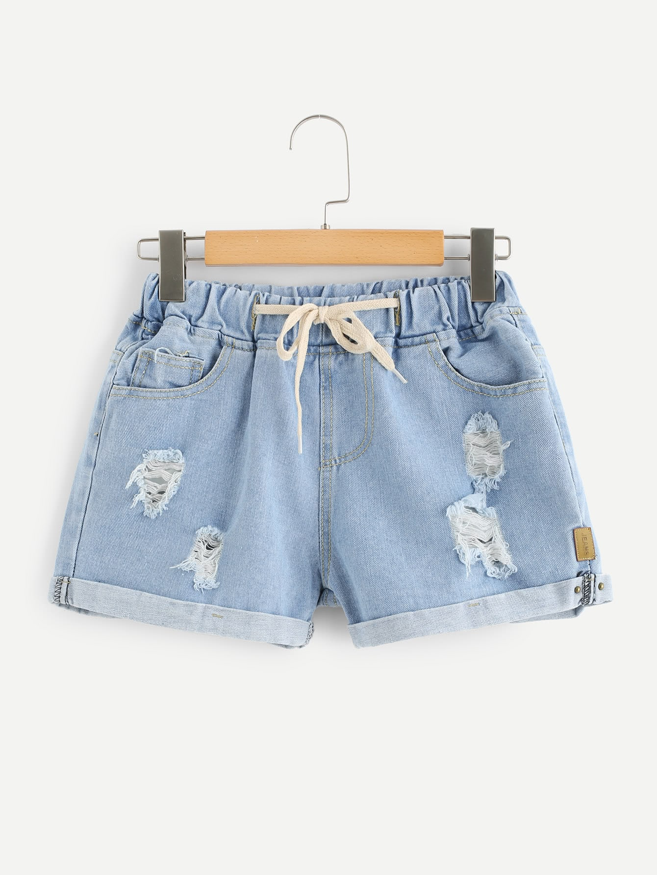 Drawstring Waist Ripped Denim Shorts denim high waist ripped bermuda shorts