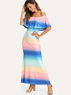 Flounce Off Shoulder Ombre Dress