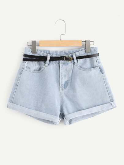 Roll Up Hem Denim Shorts With Belt