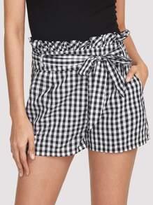 Self Belted Frilled Waist Gingham Shorts