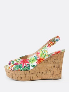 Floral Print Peep Toe Sling Back Wedge Sandal GREEN MULTI