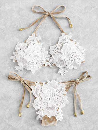 Crochet Flower Velvet Bikini Set