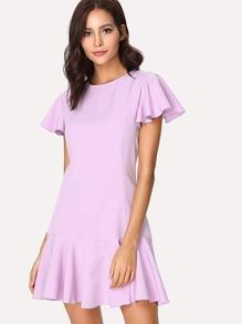 Flutter Sleeve Solid Ruffle Dress