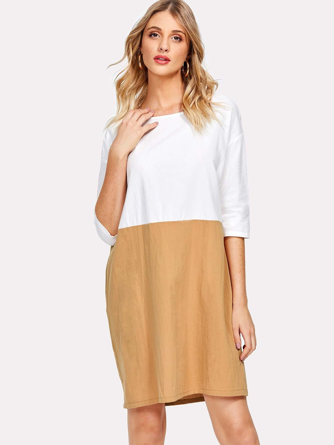 Two Tone Drop Shoulder Dress two tone drop shoulder tee