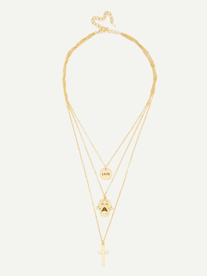 Cross & Round Pendant Link Layered Necklace
