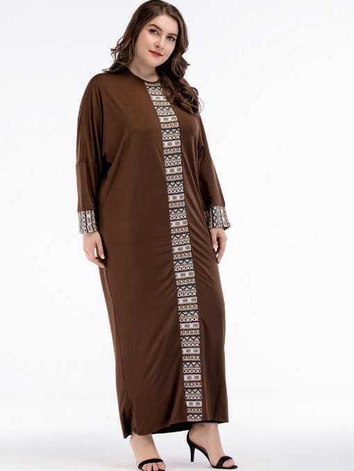 Geometric Print Contrast Longline Dress landscape print longline dress