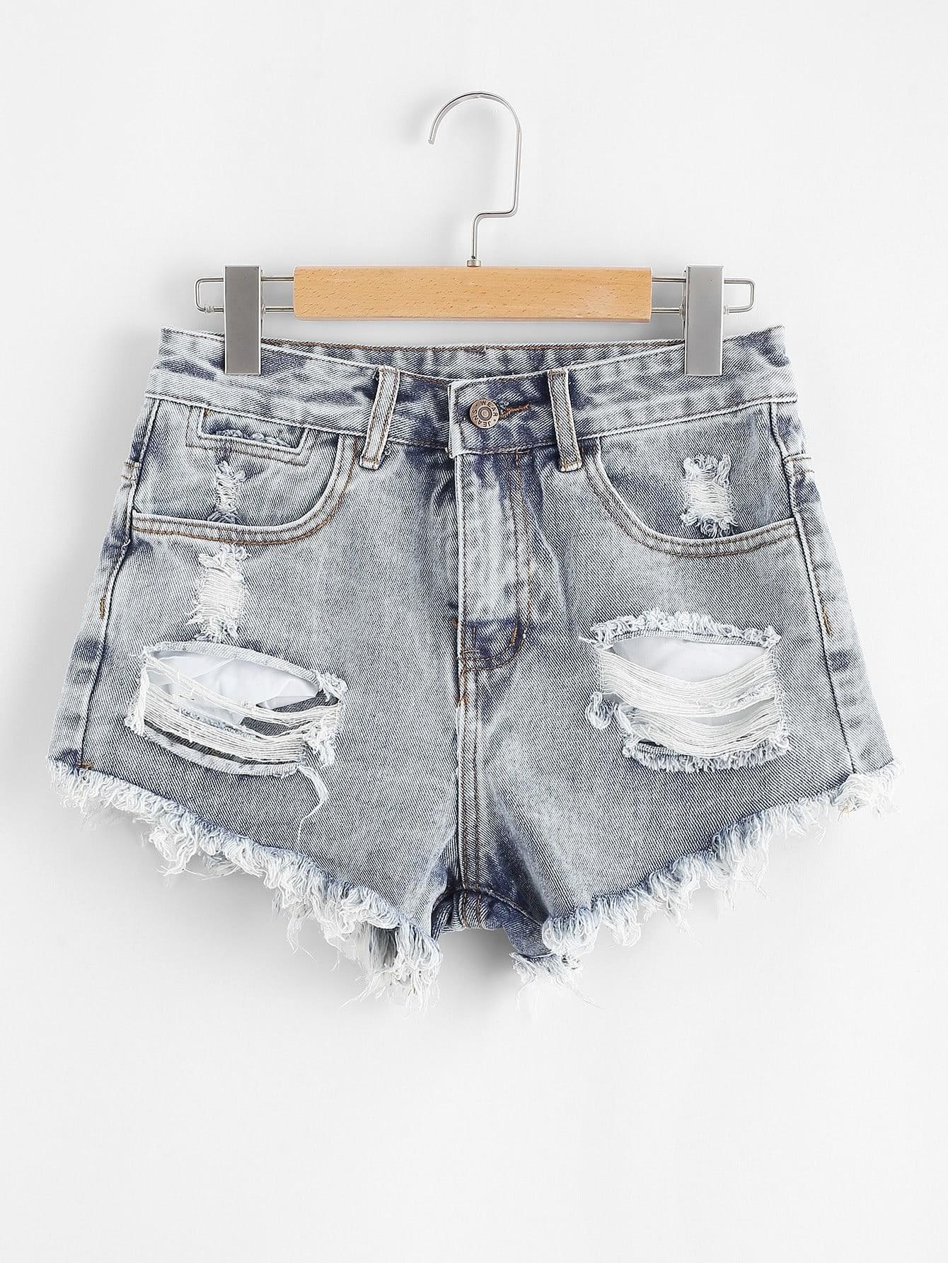 Raw Hem Ripped Denim Shorts raw hem ripped button front denim shorts