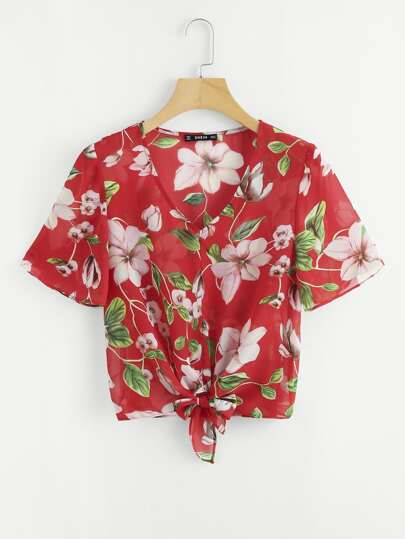 Flower Print Knot Front Top