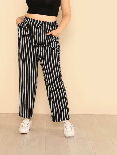 Vertical Striped Carrot Pants