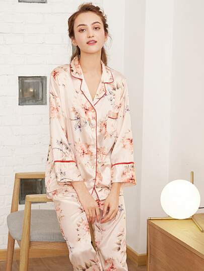 Botanical Print Contrast Binding Shirt & Pants PJ Set