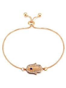 Palm Detail Link Bracelet With Rhinestone