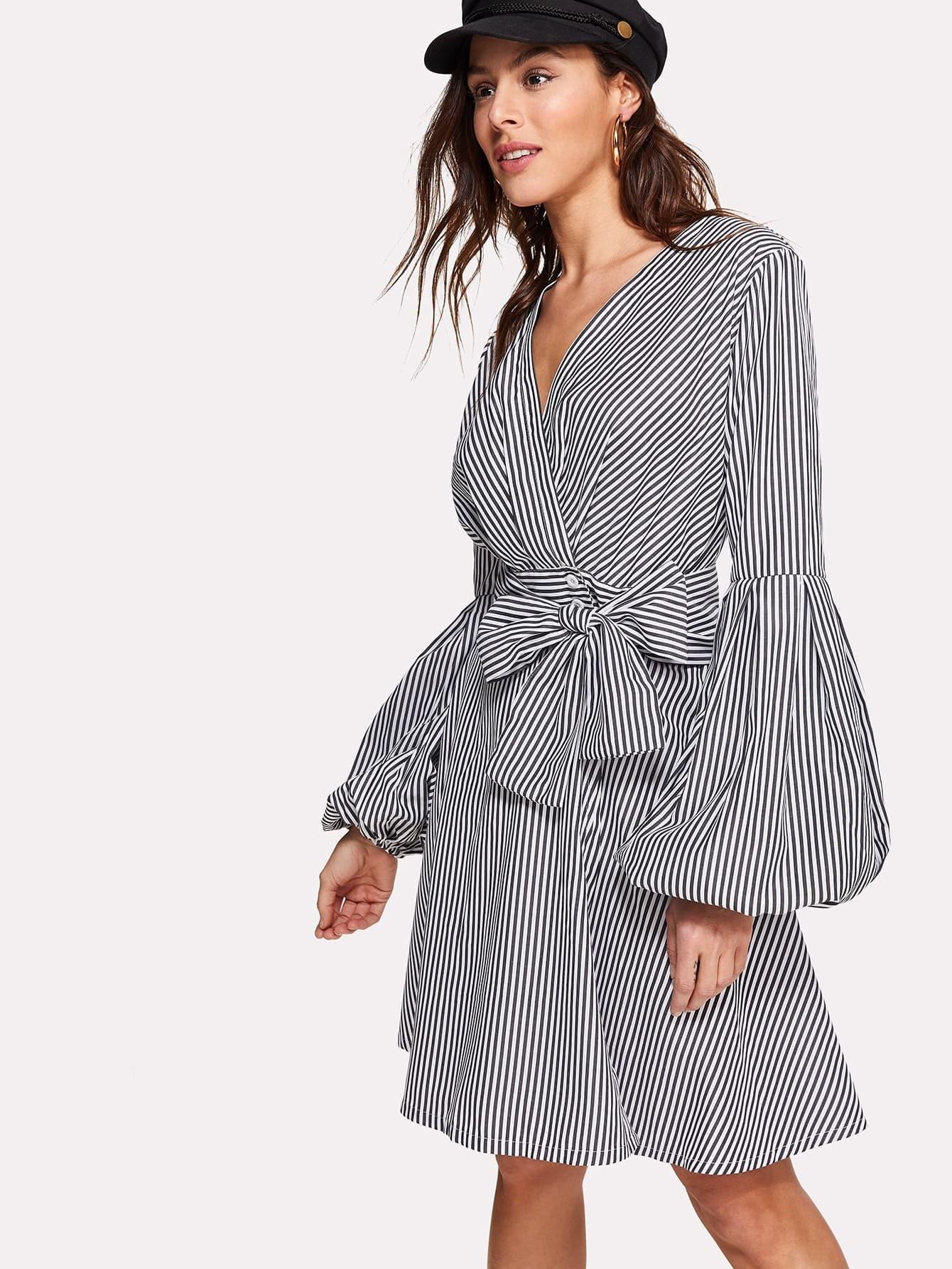 Surplice Wrap Tie Waist Lantern Sleeve Stripe Dress tartan long sleeve tie waist surplice blouse