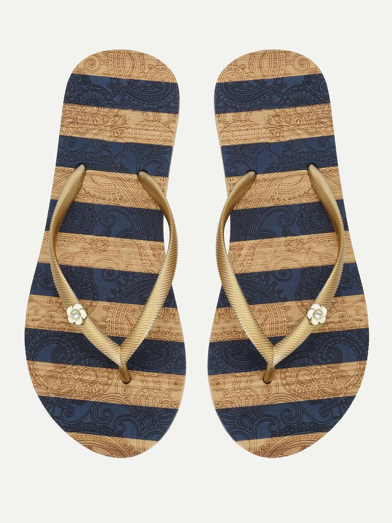 Block Striped Flip Flops toe post striped flip flops