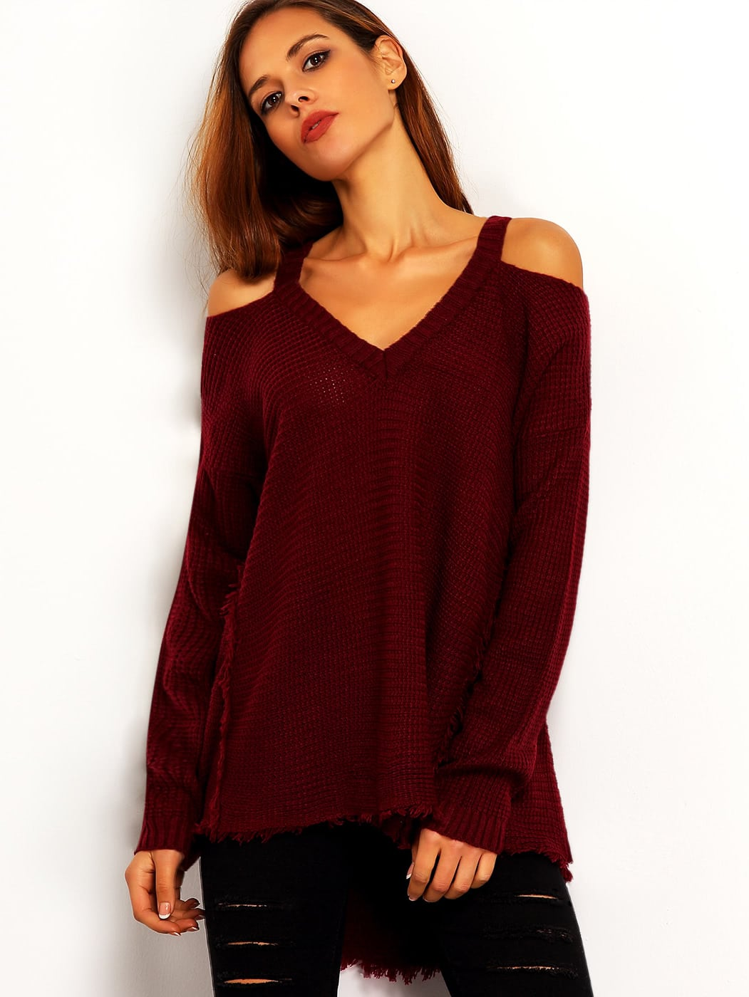 цены Burgundy Cold Shoulder Loose Sweater