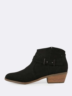 Faux Suede Zip Up Low Heel Cowgirl Booties BLACK
