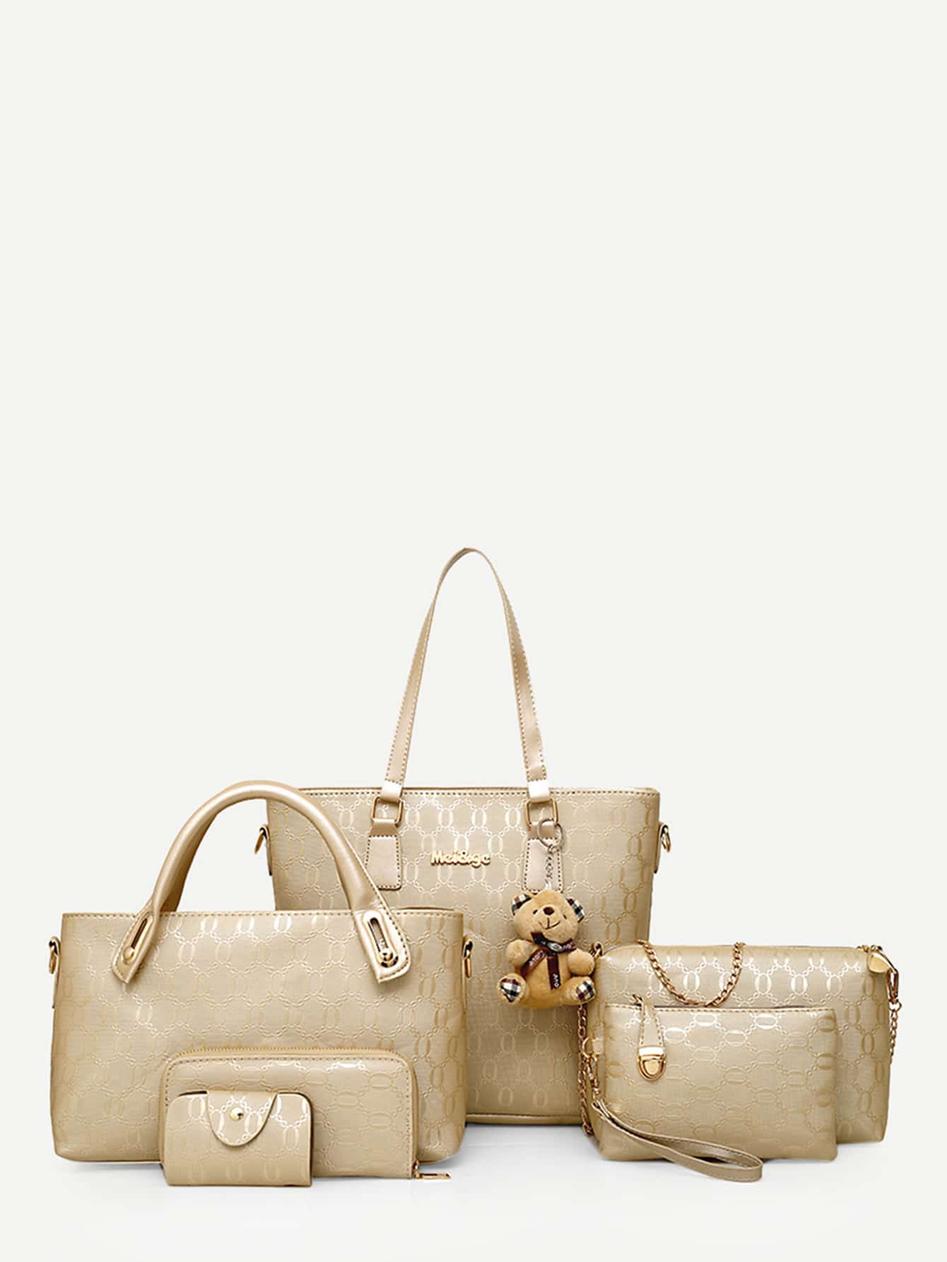Bear Charm Embellished Combination Bag 6Pcs