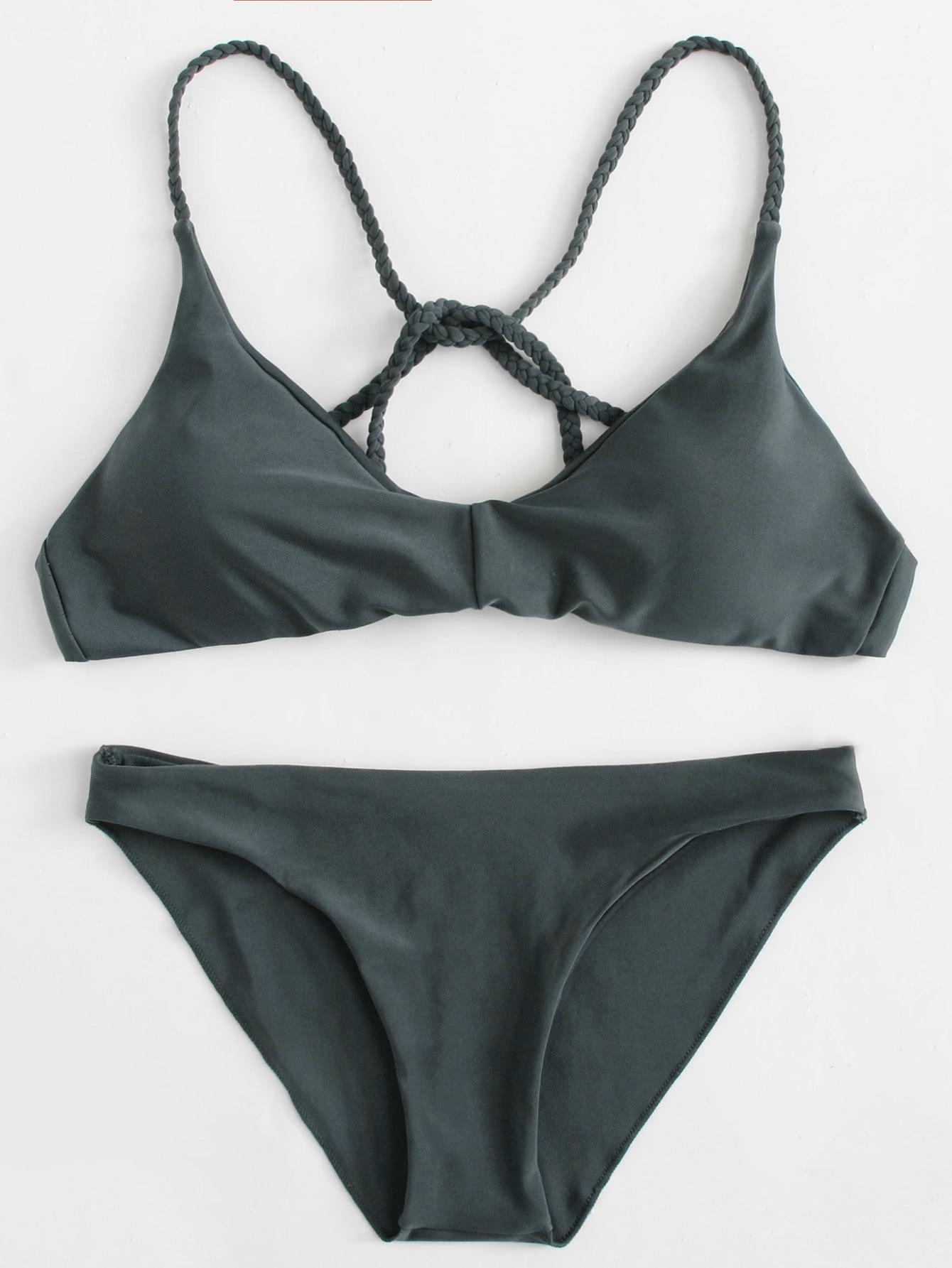 Braided Strap Beach Bikini Set все цены