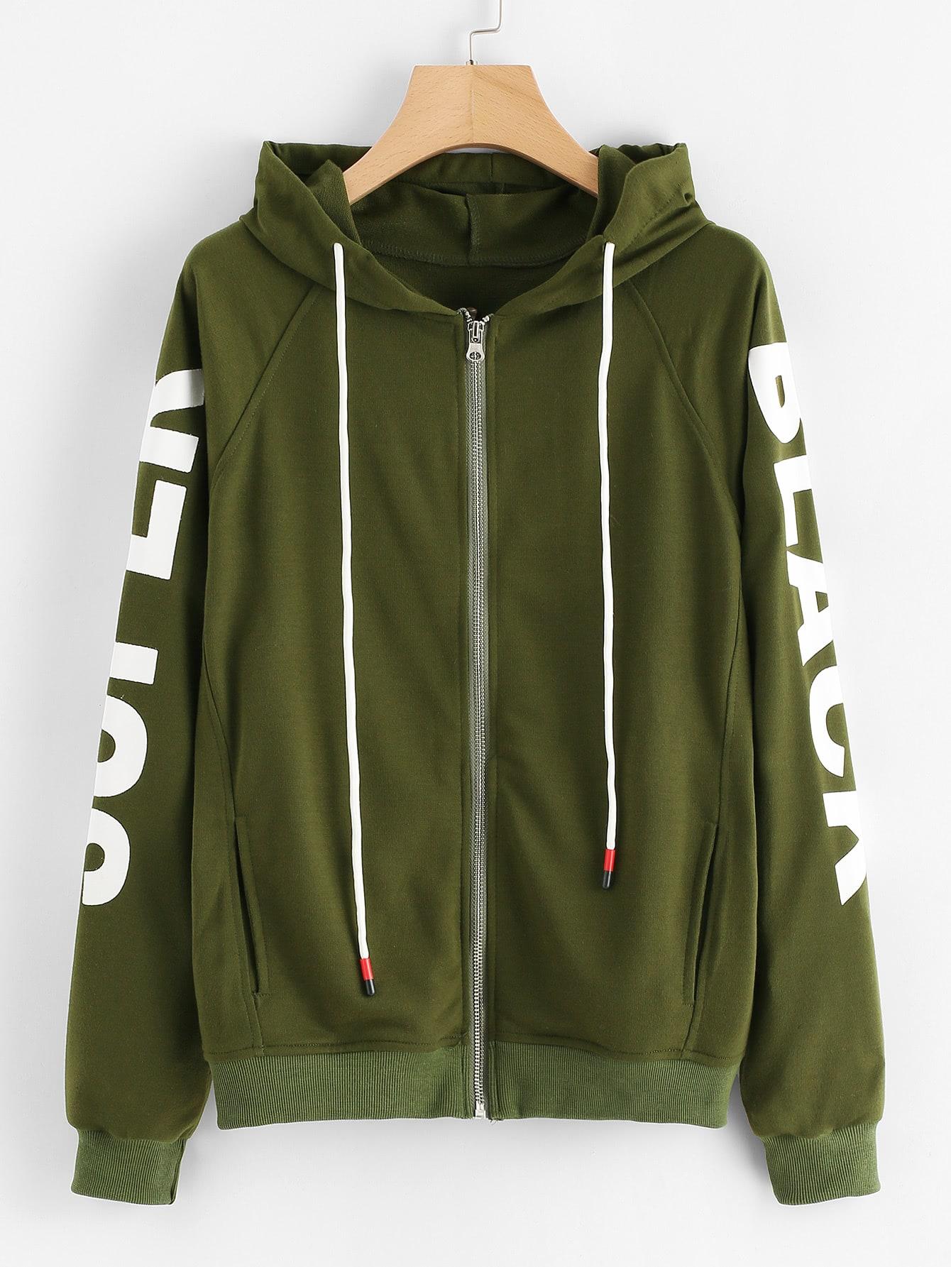Letter Print Sleeve Hoodie Jacket letter print raglan sleeve hoodie jacket