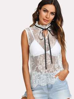 Frill Neck Floral Lace Top