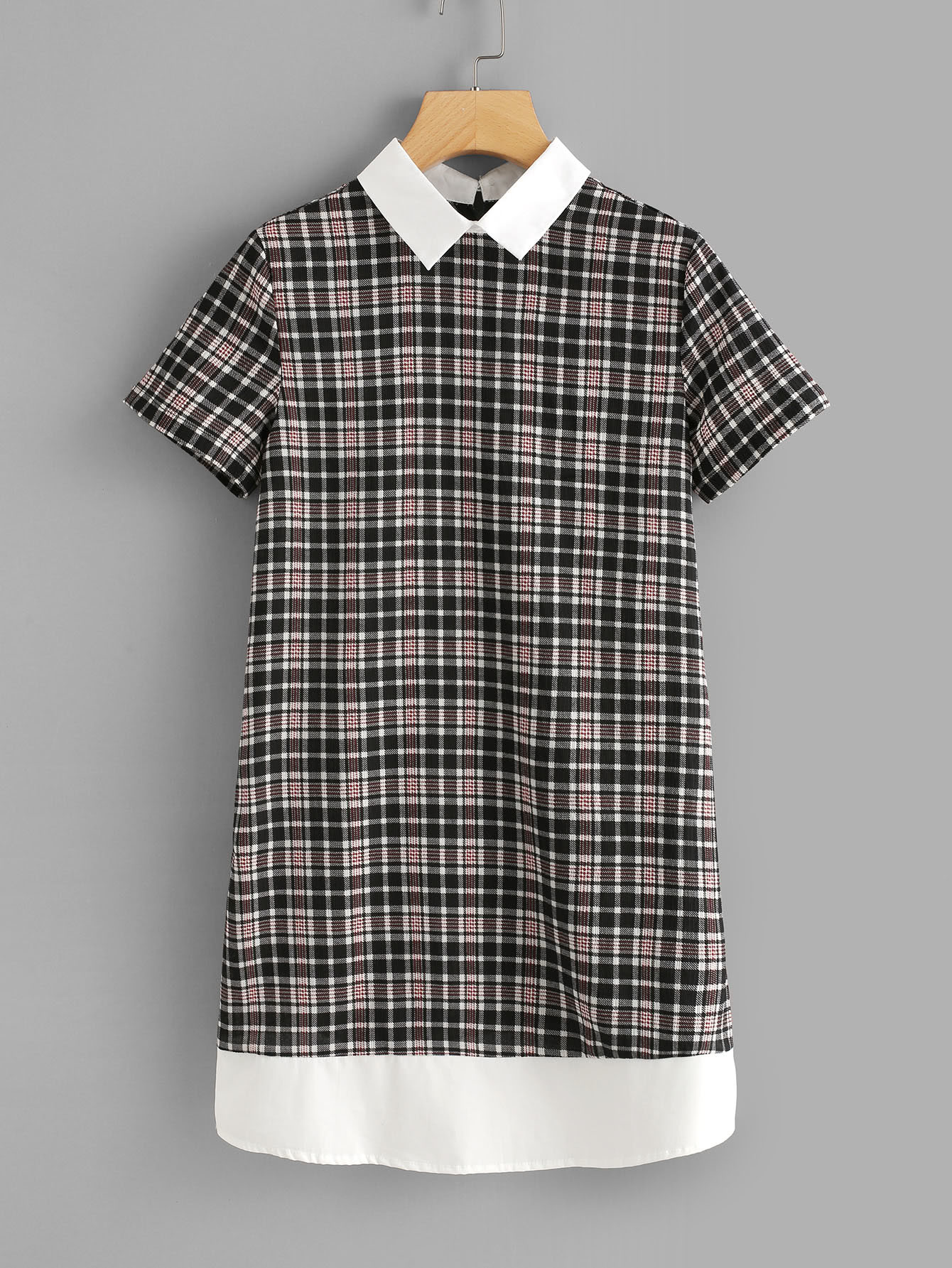 Contrast Collar And Hem Plaid Dress zip back stand collar plaid dress
