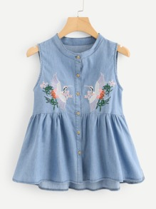 Crane Embroidered Denim Tank Top